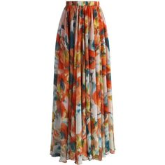 Chicwish Orange Blossom Watercolor Maxi Skirt (£41) ❤ liked on Polyvore featuring skirts, saias, maxi skirts, gonne, long skirts, orange, long maxi skirts, maxi skirt, floor length maxi skirt and ruffle maxi skirt