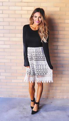 c4aff9702201ce Black Cream Crochet Long Sleeve Dress - Dottie Couture Boutique