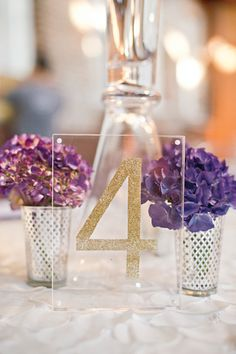 Glittery Table Numbers King Plow Wedding by Harwell Photography, Part 2 - Southern Weddings Magazine Reception Decorations, Event Decor, Wedding Centerpieces, Centrepieces, Purple Wedding, Dream Wedding, Wedding Day, Wedding Photos, Modest Wedding