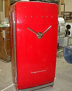 1953 RED Refrigerator: I'm not sure it makes sense to have a vintage refrigerator, but this one is pretty awesome. You'd feel like you were opening a safe with the v-shaped handle. Vintage Fridge, Vintage Refrigerator, Retro Fridge, Vintage Kitchen, Vintage Love, Vintage Decor, Vintage Antiques, Retro Vintage, Vintage Items