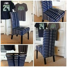 A Seattle Seahawks chair make over with NFL Duck Tape.