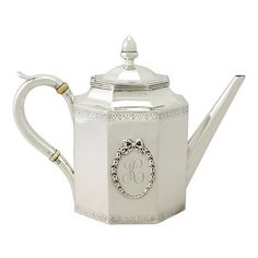 American Teapot in Silver | Antique Silverware ($3,720) ❤ liked on Polyvore featuring home, kitchen & dining, teapots, silver tea pot and silver teapot
