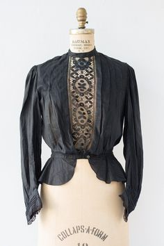 "millayvintage: ""(via 1910s Black Edwardian Pleated & Lace Blouse – Millay Vintage) """