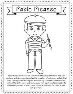 Pablo Picasso, Famous Artist Informational Text Coloring Page Craft or Poster - . - Pablo Picasso, Famous Artist Informational Text Coloring Page Craft or Poster – Elle Madison – - Famous Artists For Kids, Famous Artists Paintings, Indian Paintings, Kunst Picasso, Picasso Art, Picasso Collage, Picasso Paintings, Pinup Art, Thirty One