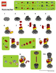 LegoMyMamma: LEGO Nutcracker building instructions - New Ideas Lego Christmas Ornaments, Lego Christmas Village, Lego Winter Village, 3d Christmas, Lego Disney, Lego Advent Calendar, Lego Design, Lego Minecraft, Lego Lego