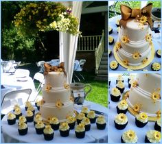 wedding cakes decorated with sunflowers on half | tower cupcakes were decorated half with a two toned swirl and half ...