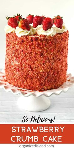 This Strawberry Crunch Cake recipe is a delicious cake with a light crunch coating nestled between layers of strawberry cake. The strawberry crunchies topping make this cake a nice way to celebrate the season. Delicious Cake Recipes, Easy Cake Recipes, Yummy Cakes, Cupcake Recipes, Cupcake Cakes, Dessert Recipes, Dessert Ideas, Cupcakes, Simple Recipes