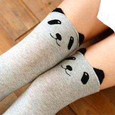 Panda Bear Animal Themed Over the Knee Cotton Socks in Light Grey