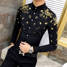 Cheap mens dress shirts, Buy Quality dress shirt directly from China men long sleeve shirt Suppliers: 2018 Camisa Social Masculina Slim Fit Gold Printing Mens Dress Shirts Baroque Shirts Club Outfits Mens Long Sleeve Shirts Casual Stylish Shirts, Stylish Men, Casual Shirts For Men, Gold Dress Shirt, Dress Shirts, Mens Designer Shirts, Mens Fashion Suits, Mens Clothing Styles, Slim Fit