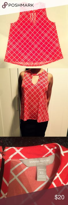 Banana Republic Red Top Beautiful Banana Republic Red Top. No wear whatsoever , in perfect condition! XS size equates to 0 but I think it could fit a S as well . Blouse is ideal for work or play! ❤️ ⚡️Fast shipper same day or next morning depending on when purchased. bundled discount Thank you very much! @olenka_mimi Banana Republic Tops