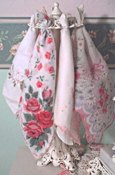 DIY project for a Shabby Chic hankie display that I made from old lamp parts.