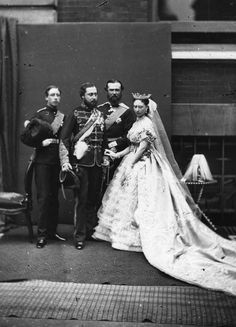 The marriage of Princess Alice and Grand Duke Louis of Hesse,1862. Pictured with her brothers Bertie, Prince of Wales (Edward VII) and Prince Arthur, Duke of Connaught. They were parents of the last Russian Tsarina, Alexandra.