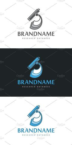 Logo design with concept of stylized microscope combined with stack of documents or blueprints. Lab Logo, Ai Illustrator, Health Logo, Visual Communication, Eps Vector, Logos, Business Card Design, Black Backgrounds, Creative