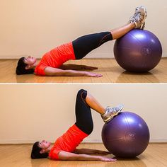 Start by lying flat on your back with an exercise ball under your heels. Bridge your hips up, and hold that position through the entire exercise. Flex your feet and dig your heels into the ball. Place your arms straight out to your side for support