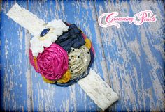 Gold Navy Fuchsia Mustard Headband Blue by CrowningPetals on Etsy