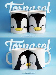 ¡Pareja de tazas! Tazas de ceramica 11 oz. Pareja de tazas pingüino #taza #tazas #cup #pingüino #love #amor#pareja #penguin #forever #romantic #tornasol