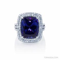 Night & Violets Collection - 18ct White Gold 13.56CT Tanzanite & Diamond Ring by TOMASSA