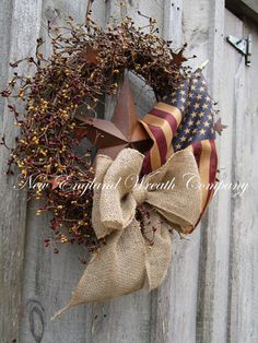Americana Rustic Star Old Glory Patriotic Wreath with Tea Stained Flag