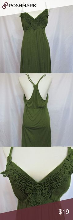 APT 9 Large Green Women's padded RacerBack Dress Apt 9 Large olive green padded racer back dress. 28 inches long. Stretchy material. VERY beautiful and in great condition! Please take a look at the other items in my closet to see if there is anything else you love, as I offer free shipping on all bundles!  Same day shipping on all items purchased by 3 PM Central time on a business day. Apt. 9 Dresses Midi