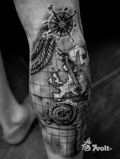 30 Creative Compass Tattoo Designs For Men | Amazing Tattoo Ideas - Page 7 #TattooIdeasForMen #TattooYou