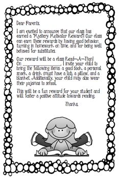 Mystery motivator points...for good behavior...earn a read-a-thon...bring a good book...pillow....