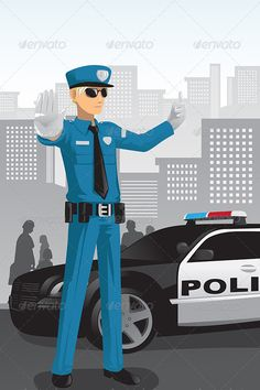 Police Officer  #GraphicRiver         A vector illustration of a police officer managing the traffic.