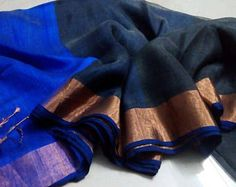linen Silk  Linen saree  Linen silk saree  Linen Zari saree  Linen Sari  Linen Silk sari Blue Linen Silk sari  Indian Sari  Blue Linen Saree  Linen Cloth  Linen Fabric  Handloom Sari  Handloom Saree