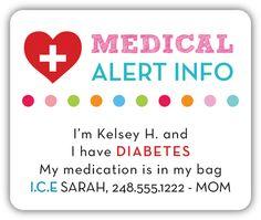 Pink Medical Alert Diabetes Safety Stickers