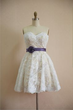 Vintage Inspired Lace Wedding Dress Strapless Sweetheart Knee Length Short Dress with Champagne Lining Flower Sash on Etsy, $109.00