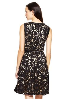 MUSE Laser Cut Scuba Fit-and-Flare Dress