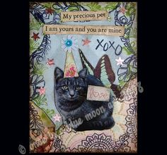 My Precious Pet  Altered Art Card Collage ACEO by LisasMenagerie