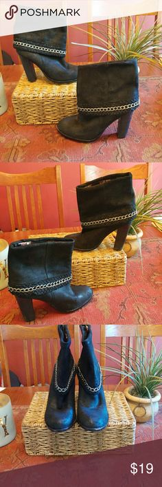 """Black Suede Boots EUC..black suede like material with silver chain accent..fully lined interior silk like material..well made boots..no interior tag..footbed measures approx. 9 1/2 """"..4"""" heel.. This would fit a size 6.5 to 7..please measure footbed of your own shoe..9.5"""" footbed measurement is taken inside shoe from tip of toe to end of interior heel Shoes Ankle Boots & Booties"""