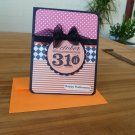Handmade Halloween card - October 31'st with Black bow - Dots, checks & stripes
