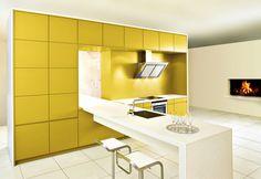 Greeploze Keuken geel met wit