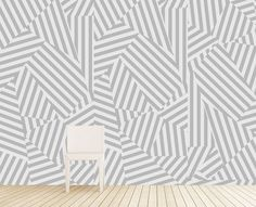 "Maison21 ""Memphis"" Wallcovering in Gray from Tracy Hiner of Black Crow Studios -- removable wallpaper - WOW!"
