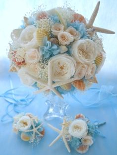 スターフィッシュのウェディングブーケ Beach Wedding Bouquets, Beach Wedding Reception, Beach Wedding Decorations, Nautical Wedding, Flower Bouquet Wedding, Wedding Table, Summer Wedding, Diy Wedding, Dream Wedding