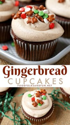 These spicy, delicious Gingerbread Cupcakes with Cinnamon Cream Cheese Frosting are just the treat for holiday parties, bake sales, and more! #dessert #cupcakes #Christmas #Christmas Recipe #ChristmasDessert #Gingerbread #recipe #foodfolksandfun