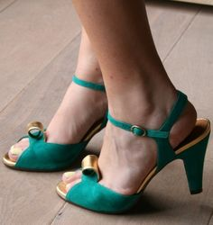 Green and gold suede heels by Chie Mihara.