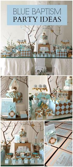 A blue baptism party for a baby boy with lovely party decorations and treats! Se - Name Baby Boy - Ideas of Name Baby Boy - Baptism Party Decorations, Baptism Themes, Baptism Ideas, Baby Boy Christening Decorations, Baptism Desserts, Boy Baptism Centerpieces, Gold Decorations, Dedication Ideas, Baby Dedication