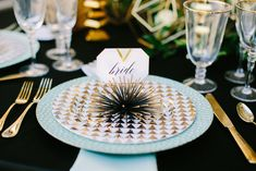 Mint and gold place setting | Sarah Pudlo & Co