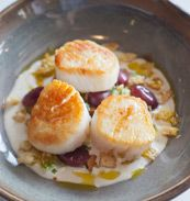 Scallops with Ajo Blanco and Pickled Grapes -- Recipe adapted from Ryan Poli, Tavernita, Chicago