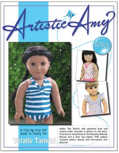 Artistic Amy Tankini Swimsuit Doll Clothes pattern available @ Liberty Jane Patterns