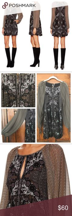 """Voile Oksana Printed Mini Dress- Free People Material: 100% Rayon Body, 100% Polyestersleeve, and 100% Rayon Lining. Bust: 33"""", Waist: 25"""", and Hip: 36"""". Free People Dresses Long Sleeve"""