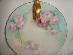 Pretty T&V Limoges France Nappy - Lemon Dish - Hand Painted Pink Roses from onlyfinelines on Ruby Lane