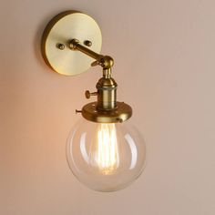 Industrial retro vintage wall light lamp cafe edison bulb indoor free bulb industrial vintage wall light lamp glass globe antique brass copper chrome metal gold sconce fish bowl round shade rust brushed mozeypictures Gallery