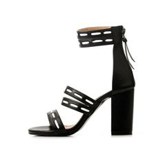 Faux Leather Elastic Zipper Sandals ($36) ❤ liked on Polyvore featuring shoes, sandals, heels, zaful, sapatos, zip sandals, zipper sandals, vegan leather shoes, heeled sandals and black sandals