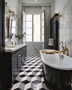 The magnificent cast iron Humber bath makes a striking focus point in this bathroom designed by @cuschieri_architects . The brassware and… Art Deco Bathroom, Small Bathroom, Bathroom Ideas, Bathroom Organization, White Bathroom, Master Bathroom, Ikea Bathroom, Bathroom Plants, Bathroom Remodeling