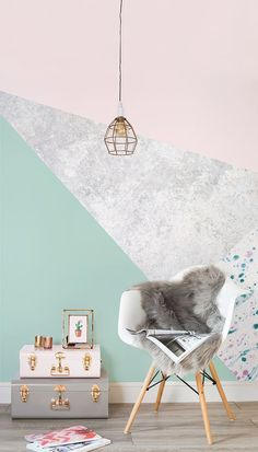 Pink & Green Geometric Wall Mural