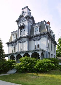 Old house, Very ornate Second Empire, The Jordan House in Auburn, Maine designed and built by Charles A. Jordan, ca 1880.