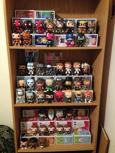 Display Funko Pops using boxes as risers.